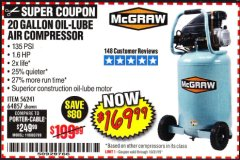 Harbor Freight Coupon 20 GALLON 1.6 HOW 135 PSI OIL LUBE VERTICAL AIR COMPRESSOR Lot No. 64857 Expired: 10/31/19 - $169.99