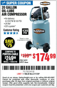 Harbor Freight Coupon 20 GALLON 1.6 HOW 135 PSI OIL LUBE VERTICAL AIR COMPRESSOR Lot No. 64857 Expired: 2/17/20 - $14.99