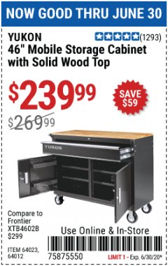 Harbor Freight Coupon 46 IN. MOBILE STORAGE CABINET WITH WOOD TOP Lot No. 64012 EXPIRES: 6/30/20 - $239.99