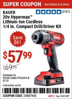 "Harbor Freight Coupon 20 VOLT LITHIUM CORDLESS 1/4"" HEX COMPACT IMPACT DRIVER KIT Lot No. 64755/63528 Expired: 9/28/20 - $57.99"