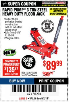 Harbor Freight Coupon RAPID PUMP 3 TON STEEL HEAVY DUTY FLOOR JACK Lot No. 64260/64261/64265/64875 Expired: 9/2/19 - $89.99