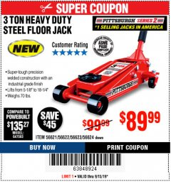 Harbor Freight Coupon RAPID PUMP 3 TON STEEL HEAVY DUTY FLOOR JACK Lot No. 64260/64261/64265/64875 Expired: 9/15/19 - $89.99
