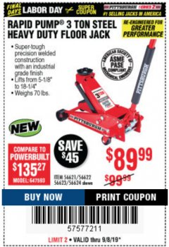 Harbor Freight Coupon RAPID PUMP 3 TON STEEL HEAVY DUTY FLOOR JACK Lot No. 64260/64261/64265/64875 Expired: 9/8/19 - $89.99