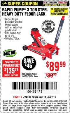 Harbor Freight Coupon RAPID PUMP 3 TON STEEL HEAVY DUTY FLOOR JACK Lot No. 64260/64261/64265/64875 Expired: 11/4/19 - $89.99