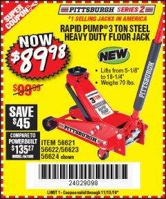 Harbor Freight Coupon RAPID PUMP 3 TON STEEL HEAVY DUTY FLOOR JACK Lot No. 64260/64261/64265/64875 Expired: 11/13/19 - $89.98