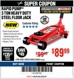 Harbor Freight Coupon RAPID PUMP 3 TON STEEL HEAVY DUTY FLOOR JACK Lot No. 64260/64261/64265/64875 Expired: 9/29/19 - $89.99