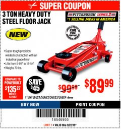 Harbor Freight Coupon RAPID PUMP 3 TON STEEL HEAVY DUTY FLOOR JACK Lot No. 64260/64261/64265/64875 Expired: 9/22/19 - $89.99