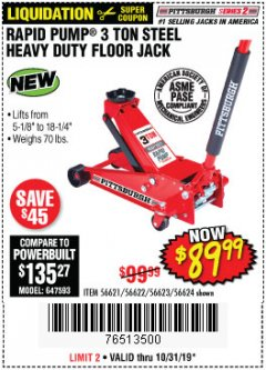 Harbor Freight Coupon RAPID PUMP 3 TON STEEL HEAVY DUTY FLOOR JACK Lot No. 64260/64261/64265/64875 Expired: 10/31/19 - $89.99