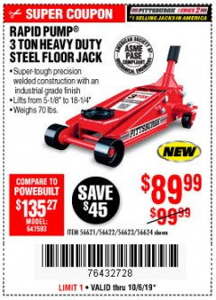 Harbor Freight Coupon RAPID PUMP 3 TON STEEL HEAVY DUTY FLOOR JACK Lot No. 64260/64261/64265/64875 Expired: 10/6/19 - $89.99