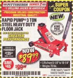 Harbor Freight Coupon RAPID PUMP 3 TON STEEL HEAVY DUTY FLOOR JACK Lot No. 64260/64261/64265/64875 Expired: 11/30/19 - $89.99