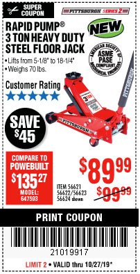 Harbor Freight Coupon RAPID PUMP 3 TON STEEL HEAVY DUTY FLOOR JACK Lot No. 64260/64261/64265/64875 Expired: 10/27/19 - $89.99