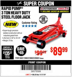 Harbor Freight Coupon RAPID PUMP 3 TON STEEL HEAVY DUTY FLOOR JACK Lot No. 64260/64261/64265/64875 Expired: 11/17/19 - $89.99