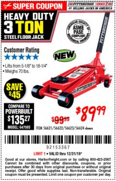 Harbor Freight Coupon RAPID PUMP 3 TON STEEL HEAVY DUTY FLOOR JACK Lot No. 64260/64261/64265/64875 Expired: 12/31/19 - $89.99