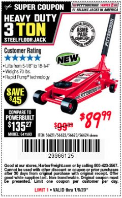 Harbor Freight Coupon RAPID PUMP 3 TON STEEL HEAVY DUTY FLOOR JACK Lot No. 64260/64261/64265/64875 Expired: 1/8/20 - $89.99