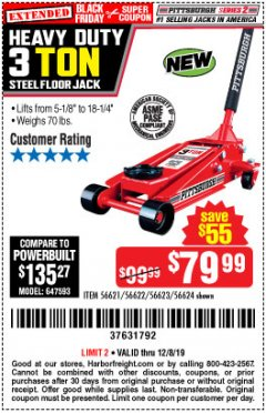 Harbor Freight Coupon RAPID PUMP 3 TON STEEL HEAVY DUTY FLOOR JACK Lot No. 64260/64261/64265/64875 Expired: 12/8/19 - $79.99