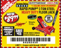 Harbor Freight Coupon RAPID PUMP 3 TON STEEL HEAVY DUTY FLOOR JACK Lot No. 64260/64261/64265/64875 Expired: 1/25/20 - $89.99