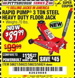 Harbor Freight Coupon RAPID PUMP 3 TON STEEL HEAVY DUTY FLOOR JACK Lot No. 64260/64261/64265/64875 Expired: 1/27/20 - $89.99