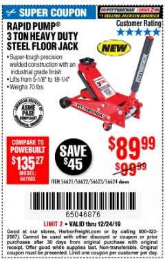 Harbor Freight Coupon RAPID PUMP 3 TON STEEL HEAVY DUTY FLOOR JACK Lot No. 64260/64261/64265/64875 Expired: 12/24/19 - $89.99