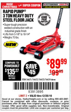 Harbor Freight Coupon RAPID PUMP 3 TON STEEL HEAVY DUTY FLOOR JACK Lot No. 64260/64261/64265/64875 Expired: 12/26/19 - $89.99
