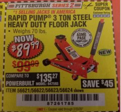 Harbor Freight Coupon RAPID PUMP 3 TON STEEL HEAVY DUTY FLOOR JACK Lot No. 64260/64261/64265/64875 Expired: 2/20/20 - $89.99