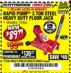 Harbor Freight Coupon RAPID PUMP 3 TON STEEL HEAVY DUTY FLOOR JACK Lot No. 64260/64261/64265/64875 Expired: 2/27/20 - $89.99