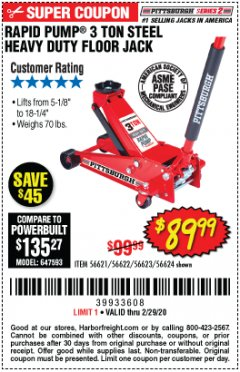 Harbor Freight Coupon RAPID PUMP 3 TON STEEL HEAVY DUTY FLOOR JACK Lot No. 64260/64261/64265/64875 Expired: 2/29/20 - $89.99