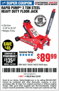 Harbor Freight Coupon RAPID PUMP 3 TON STEEL HEAVY DUTY FLOOR JACK Lot No. 64260/64261/64265/64875 Expired: 2/2/20 - $89.99