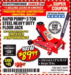 Harbor Freight Coupon RAPID PUMP 3 TON STEEL HEAVY DUTY FLOOR JACK Lot No. 64260/64261/64265/64875 Expired: 3/31/20 - $89.99