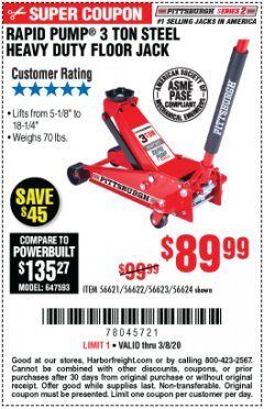 Harbor Freight Coupon RAPID PUMP 3 TON STEEL HEAVY DUTY FLOOR JACK Lot No. 64260/64261/64265/64875 Expired: 3/8/20 - $89.99