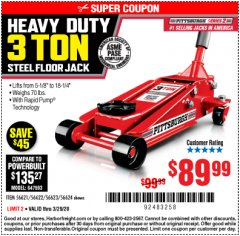 Harbor Freight Coupon RAPID PUMP 3 TON STEEL HEAVY DUTY FLOOR JACK Lot No. 64260/64261/64265/64875 Expired: 3/29/20 - $89.99