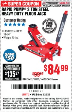 Harbor Freight Coupon RAPID PUMP 3 TON STEEL HEAVY DUTY FLOOR JACK Lot No. 64260/64261/64265/64875 Expired: 3/22/20 - $84.99