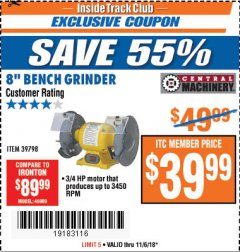 "Harbor Freight ITC Coupon 3/4 HP, 8"" BENCH GRINDER Lot No. 39798 Expired: 11/6/18 - $39.99"
