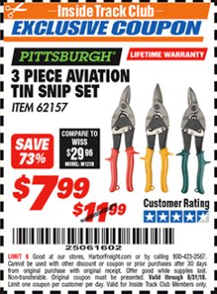 Harbor Freight ITC Coupon 3 PIECE AVIATION TIN SNIP SET Lot No. 69000/62157 Expired: 8/31/18 - $7.99