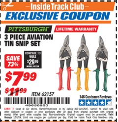Harbor Freight ITC Coupon 3 PIECE AVIATION TIN SNIP SET Lot No. 69000/62157 Expired: 1/31/19 - $7.99