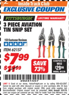 Harbor Freight ITC Coupon 3 PIECE AVIATION TIN SNIP SET Lot No. 69000/62157 Valid Thru: 3/31/19 - $7.99
