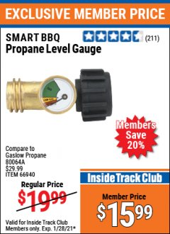 Harbor Freight ITC Coupon PROPANE LEVEL GAUGE Lot No. 66940 Valid: 1/1/21 1/28/21 - $15.99