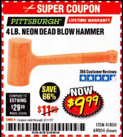 Harbor Freight Coupon 4LB DEAD BLOW HAMMER Lot No. 41800, 69004 Expired: 3/31/20 - $9.99