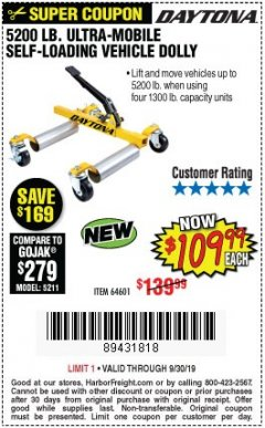Harbor Freight Coupon 5200 LB. ULTRA-MOBILE SELF-LOADING VEHICLE DOLLY Lot No. 64601 Expired: 9/30/19 - $109.99