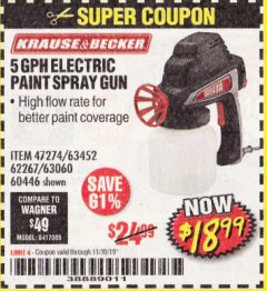 Harbor Freight Coupon ELECTRIC PAINT SPRAY GUN Lot No. 47274/63452/62267/63060/60446 Expired: 11/30/19 - $18.99