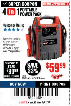Harbor Freight Coupon 4 IN ONE PORTABLE POWER PACK Lot No. 56631/62453/62374 Expired: 9/22/19 - $59.99
