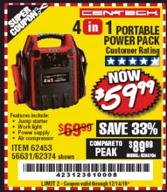Harbor Freight Coupon 4 IN ONE PORTABLE POWER PACK Lot No. 56631/62453/62374 Expired: 12/14/19 - $59.99