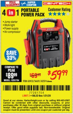 Harbor Freight Coupon 4 IN ONE PORTABLE POWER PACK Lot No. 56631/62453/62374 Valid Thru: 1/31/20 - $59.99