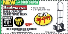 Harbor Freight Coupon 800 LB. CAPACITY BIG FOOT HAND TRUCK Lot No. 64815 Expired: 11/2/19 - $49.99