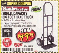 Harbor Freight Coupon 800 LB. CAPACITY BIG FOOT HAND TRUCK Lot No. 64815 Expired: 11/30/19 - $49.99