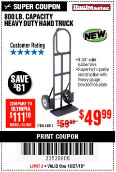 Harbor Freight Coupon 800 LB. CAPACITY BIG FOOT HAND TRUCK Lot No. 64815 Expired: 10/27/19 - $49.99