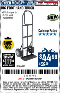 Harbor Freight Coupon 800 LB. CAPACITY BIG FOOT HAND TRUCK Lot No. 64815 Expired: 12/1/19 - $44.99