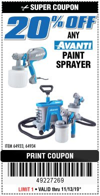 Harbor Freight Coupon 20PCT OFF ANY AVANTI PAINT SPRAYER Lot No. 64933/64934 Expired: 11/13/19 - $0
