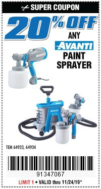 Harbor Freight Coupon 20PCT OFF ANY AVANTI PAINT SPRAYER Lot No. 64933/64934 Expired: 11/24/19 - $0