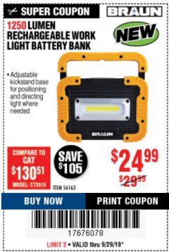Harbor Freight Coupon 1250 LUMEN RECHARGEABLE WORK LIGHT BATTERY BANK Lot No. 56163 Valid Thru: 9/29/19 - $24.99