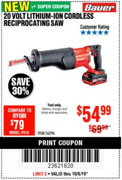 Harbor Freight Coupon 20V LITHIUM-ION VARIABLE SPEED RECIPROCATING SAW WITH KEYLESS CHUCK Lot No. 56396 Expired: 10/6/19 - $54.99